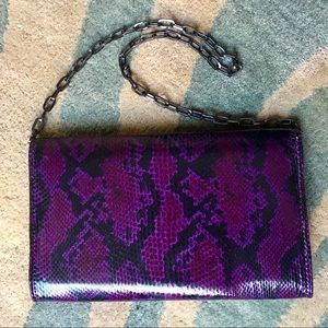 NWT WHBM gorgeous purple snakeskin purse